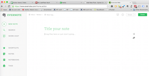 The new Evernote Web version is nice and clean and kind of bubbly, with lots of white space.
