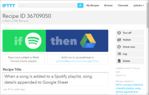 IFTTT music geek example